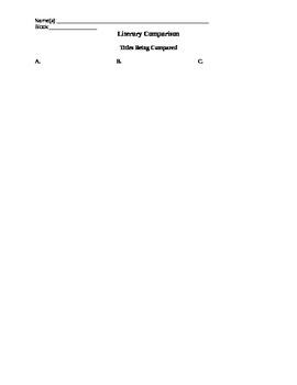 Literary Comparison Worksheet/Graphic Organizer