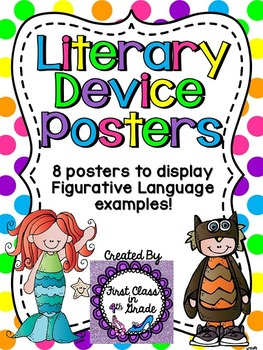 Literary Device & Figurative Language Posters (Polka Dots)