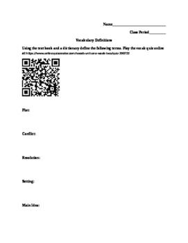 Literary Device Vocab Worksheet