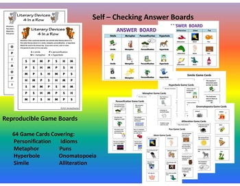 Figurative Language 4 In a Row Game -   2 Printable Games