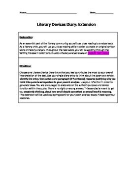 Literary Devices Homework Extension