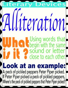 Literary Devices, anchor charts, posters, with definitions