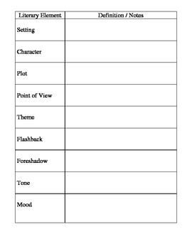 Literary Elements Note Page