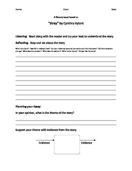 Literary Essay Planning Template