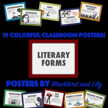 Literary Forms Poster Pack - definitions of genres and pic
