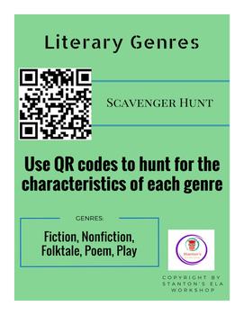 QR Code Genre Scavenger Hunt (Fiction, Nonfiction, Folktal