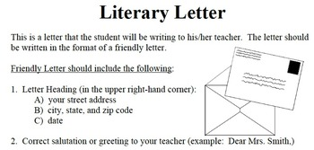 Literary Letter - Novel Reading Comprehension Responses -