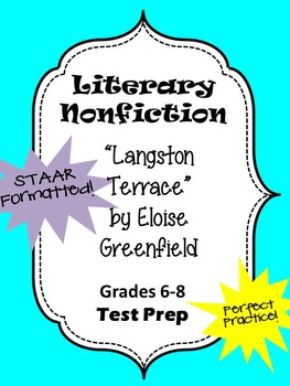 Literary Nonfiction STAAR formatted questions for Langston