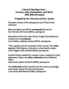 Literary Opening Lines – Careers, Jobs, Occupations & Work
