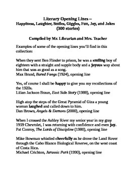 Literary Opening Lines - Happiness, Laughter, Smiles, Gigg
