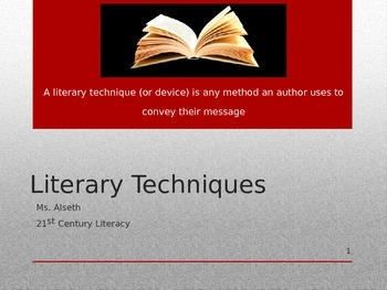 Literary Technique Presentation with Movie Clips and  Note