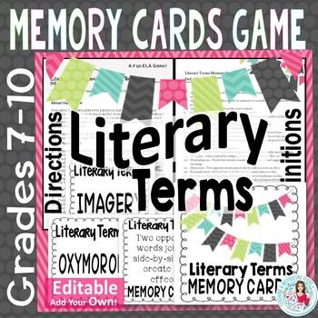 Literary Terminology Matching Memory Card Game - ELA Middl