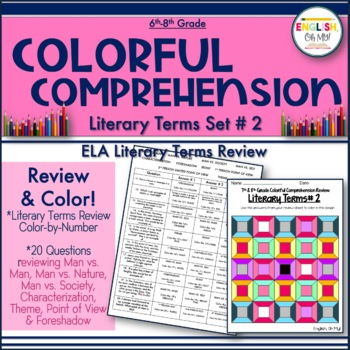 Literary Terms Review #2-Colorful Comprehension, Color by Number