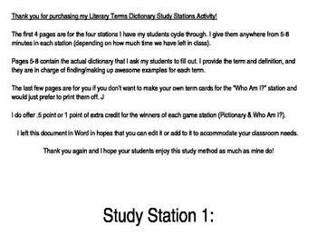 Literary Terms Study Stations Activity