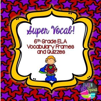 Literary Terms ~ Frayer Model Vocabulary Frames for 6th Grade ELA