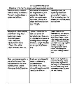 Literary Writing Grid - Tic-Tac-Toe Choice Grid for Making