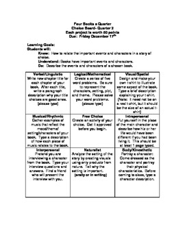 Literature Choice Board 2