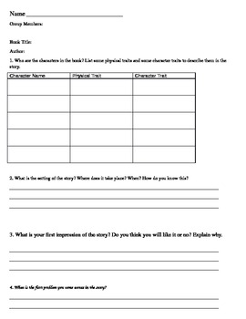 Literature Circle Book Discussion Questions