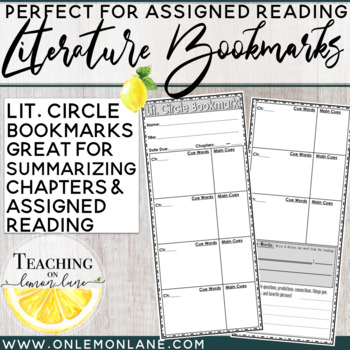 Literature Circle Bookmark (Book Club, Literature Study) G