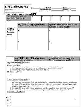 Literature Circle Discussion Sheet