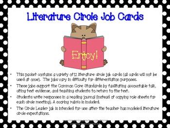 Literature Circle Job Cards (Supports CCSS)
