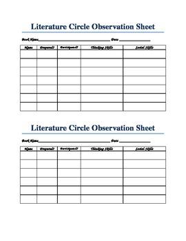 Literature Circle Observation Form