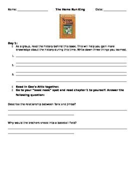 Literature Circle Questions: Home Run King