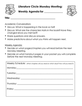 Literature Circle Reading Group Planning Sheet