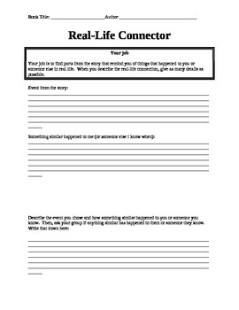 Literature Circle Role Sheets including Reflection
