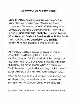 Literature Circle Role Thinkmarks