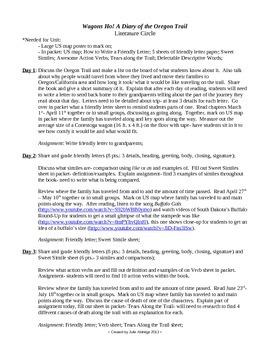 Literature Circle for Wagons Ho! by Cynthia Mercati