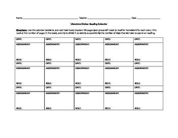 Literature Circles Calendar