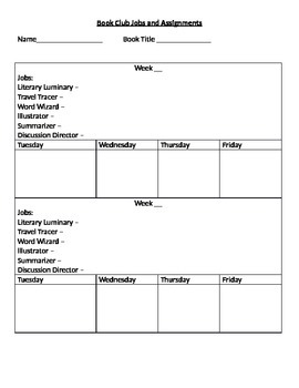 Literature Circles Job and Assignment Tracker **Editable**