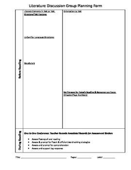 Literature Discussion Group Planner