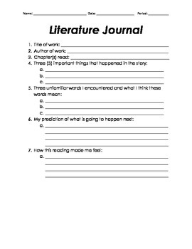 Literature Journal for Any Novel/Biography (CCSS RL.8/9.2)