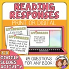 Reading Response QUESTION Cards for Any Book: Close Reading, Lit Groups, etc.