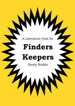 Literature Unit - FINDERS KEEPERS - Emily Rodda - Novel St