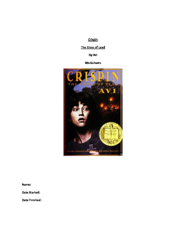 Literature Unit Study Guide for Crispin The Cross of Lead by AVI