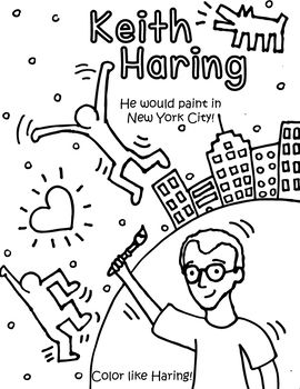 Little Artist Coloring and Activity Page- Haring