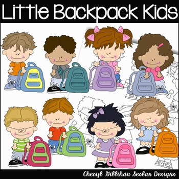 Little Backpack Kids Clipart Collection