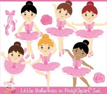 Little Ballerinas in Pink Clipart Set