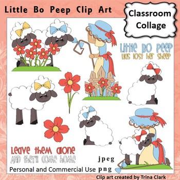 Little Bo Peep Clip Art - Color - pers & comm Nursery Rhym
