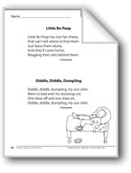 Little Bo Peep/Diddle, Diddle, Dumpling (Two rhymes)