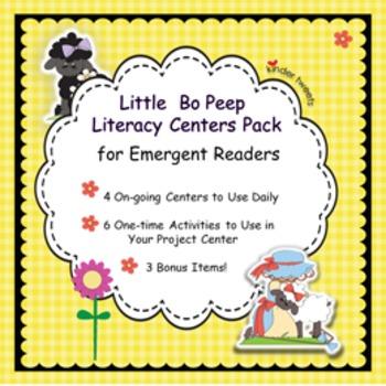 Little Bo Peep Nursery Rhyme Literacy Centers for Emergent