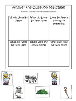 Little Bo Peep themed Answer the Question printable game.