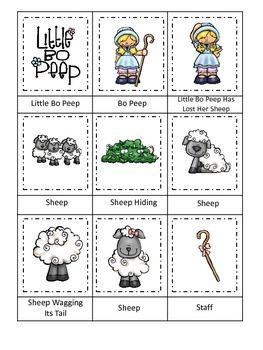 Little Bo Peep themed Three Part Matching preschool printa