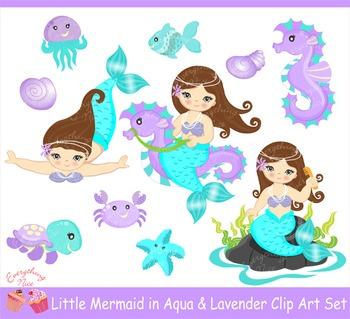 Little Brunette Mermaids in Aqua and Lavender Clipart Set