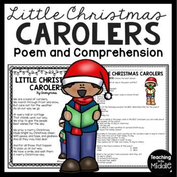 Little Christmas Carolers Poem, Reading Comprehension Work