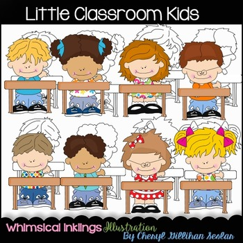 Little Classroom Kids Clipart Collection