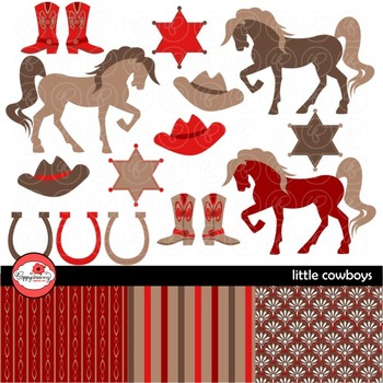 Little Cowboys Red & Brown Digital Paper and Clipart Set b